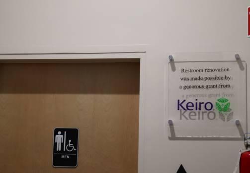 Restroom door and Keiro plaque