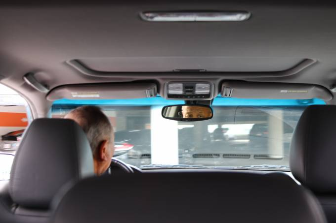 rear view mirror inside a car